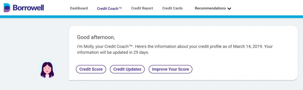 free credit score Canada: Borrowell Credit Coach feature